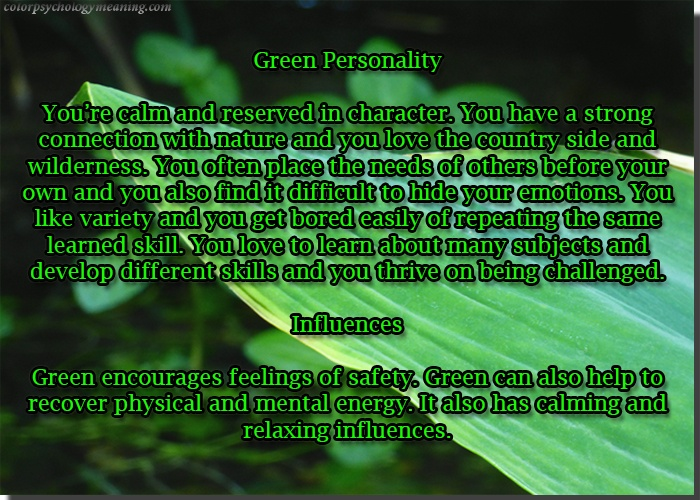 Green Personality & Affects