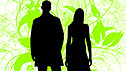 A silhouette of a man and a woman